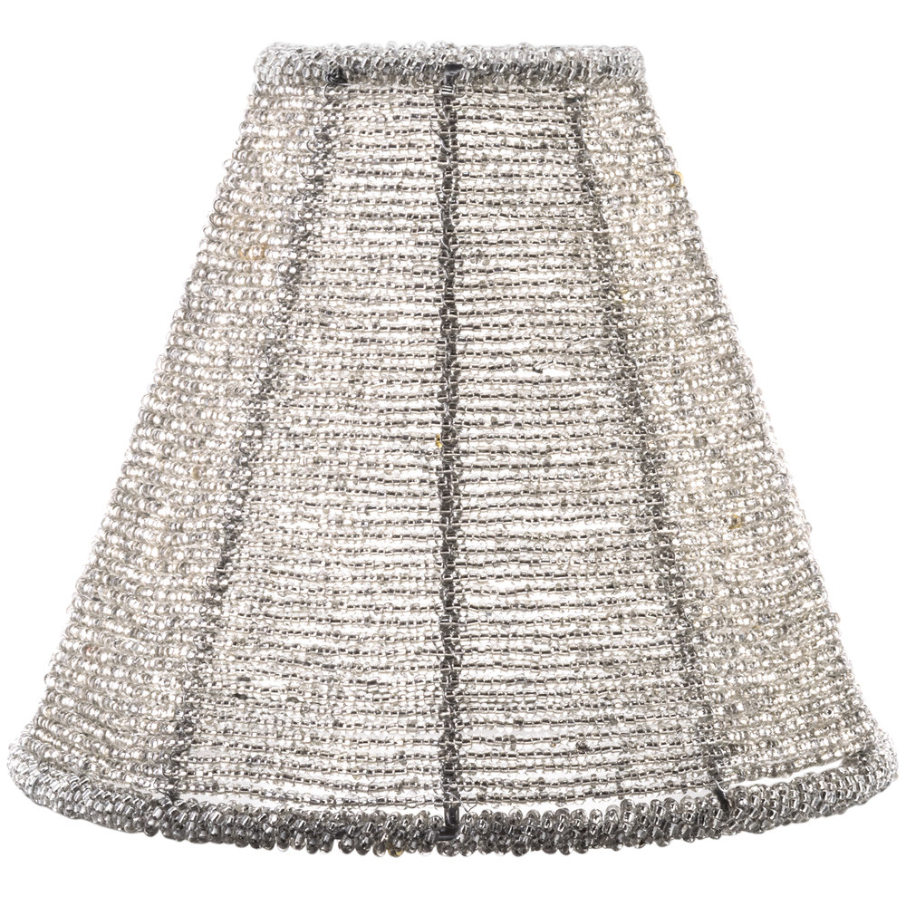 Sterno products 85430 silver beaded lamp shade for Beaded chandelier lamp shades