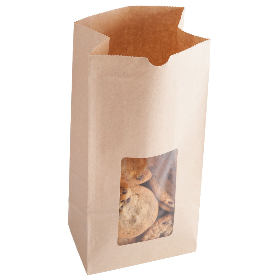 8 lb. Brown Kraft Paper Cookie / Coffee / Donut Bag with Window - 500/Case