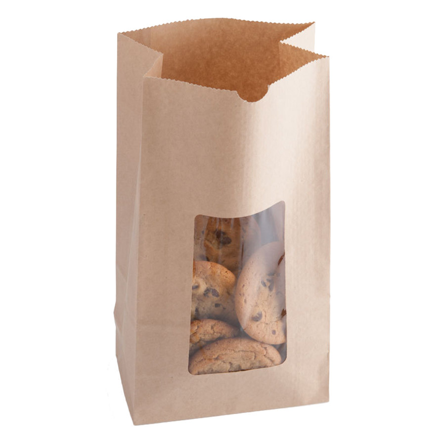 "6 lb. Brown Paper Cookie / Coffee / Donut Bag with Window 6"" x 3 1/2"" x 11 1/8"" - 500 / Case"
