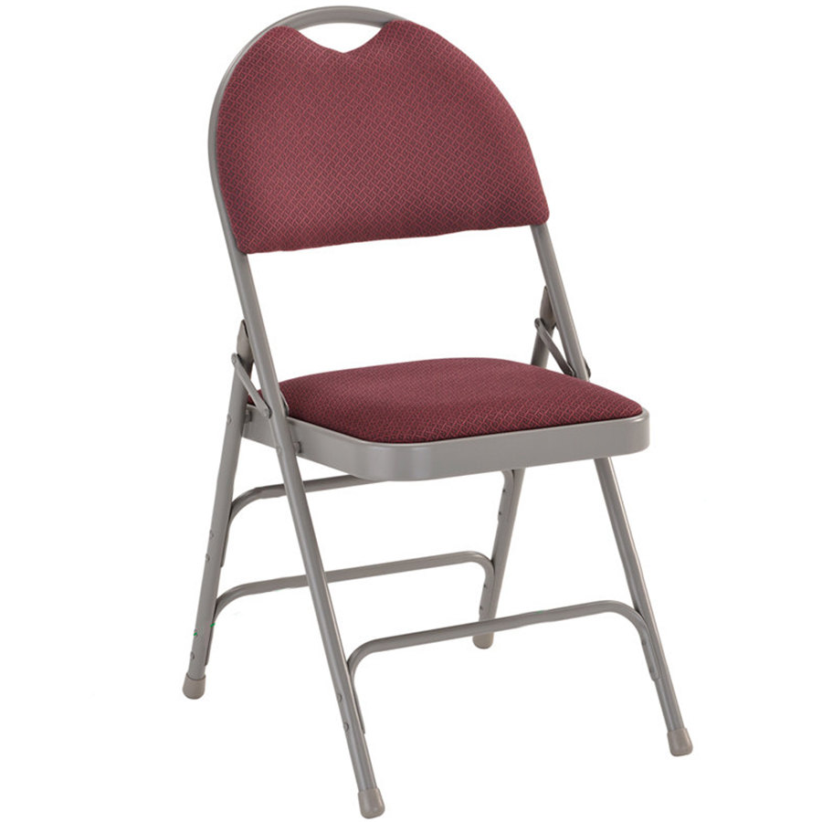 Burgundy Metal Folding Chair With 1 Quot Padded Fabric Seat