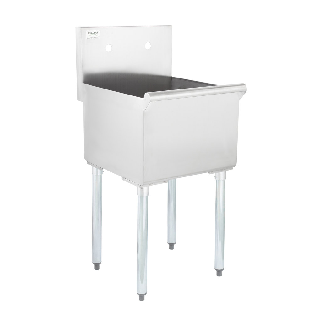 Regency 18 inch 16-Gauge Stainless Steel One Compartment Commercial Utility Sink - 18 inch x 18 inch x 13 inch Bowl