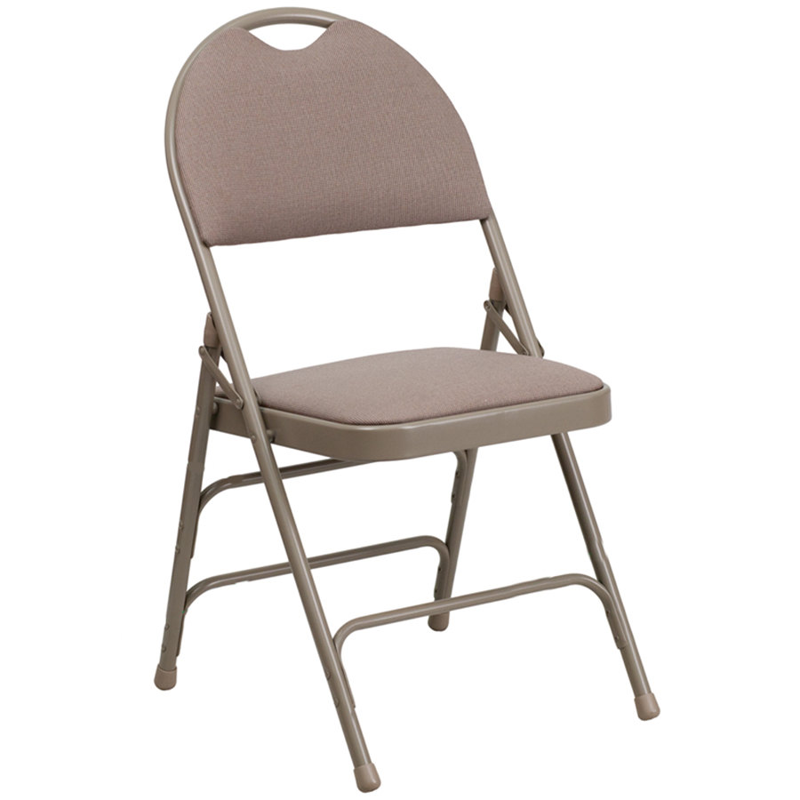 "Beige Metal Folding Chair with 1"" Padded Fabric Seat - with Easy-Carry Handle"