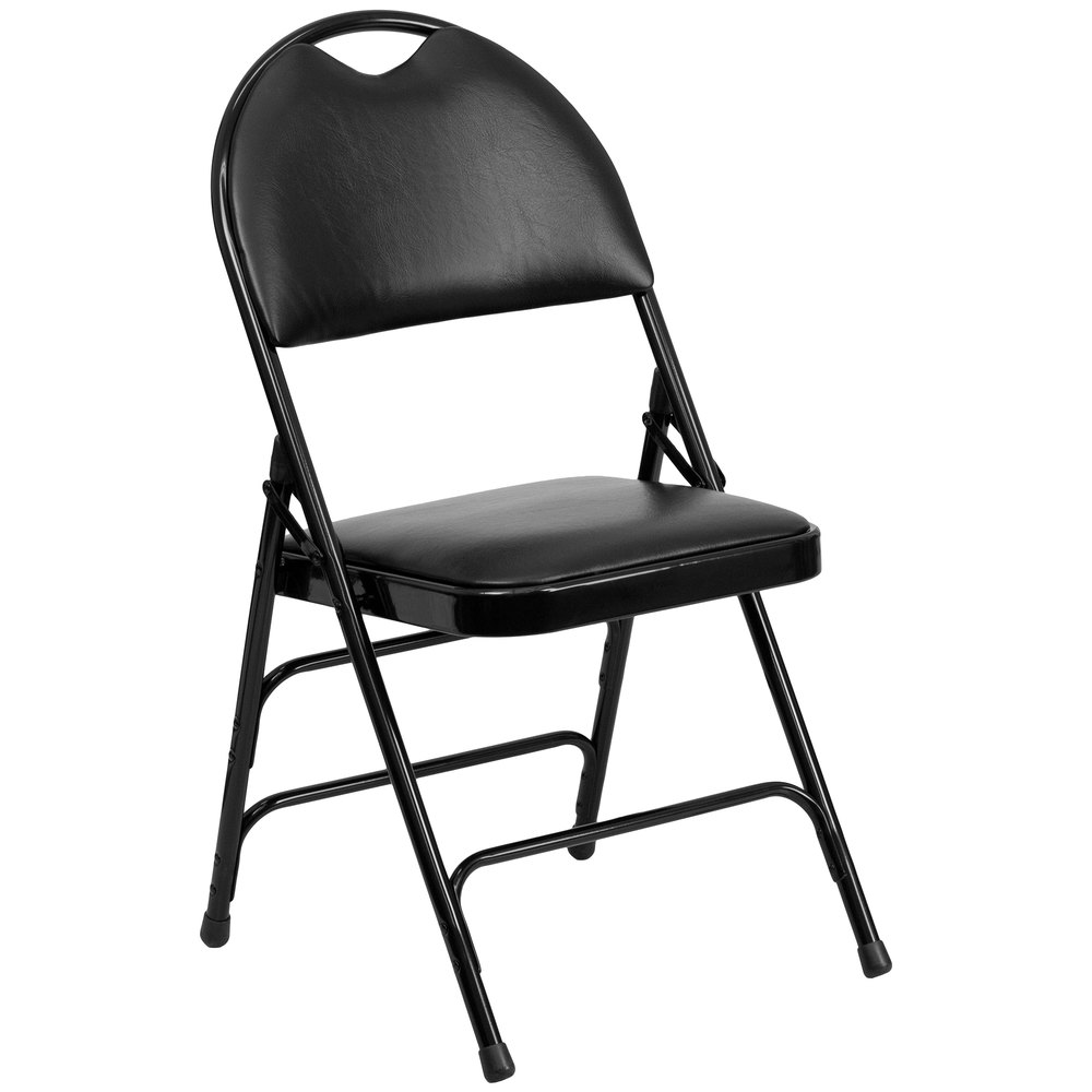 "Black Metal Folding Chair with 1"" Padded Vinyl Seat - with Easy-Carry Handle"