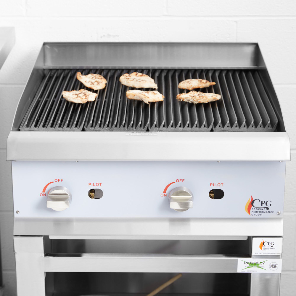 "Cooking Performance Group CBL24 24"" Gas Lava Rock Charbroiler - 80,000 BTU"