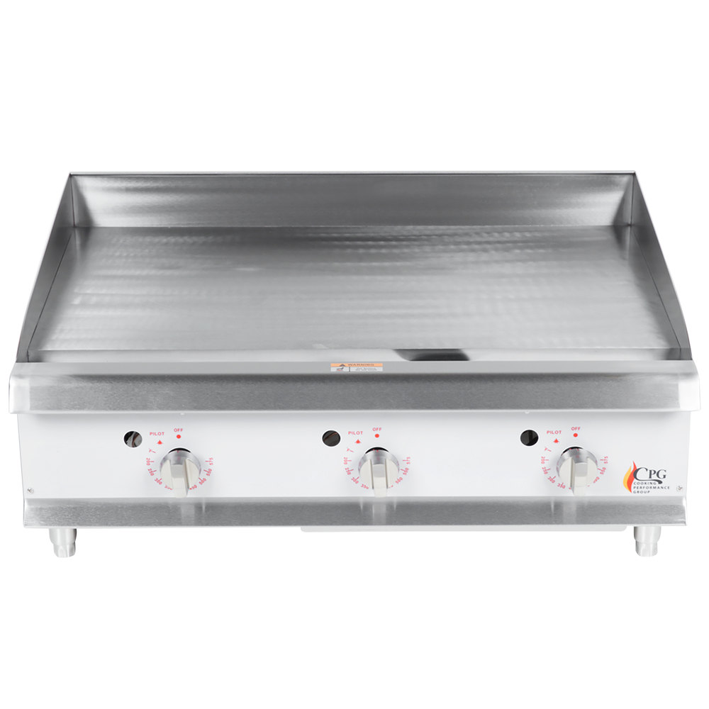 "Cooking Performance Group G36T 36"" Gas Countertop Griddle with Thermostatic Controls - 90,000 BTU"