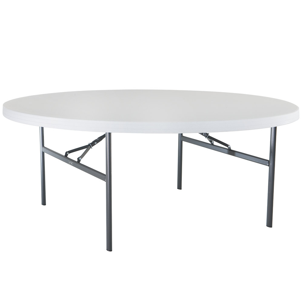 Lifetime Round Folding Table 72 Plastic White Granite