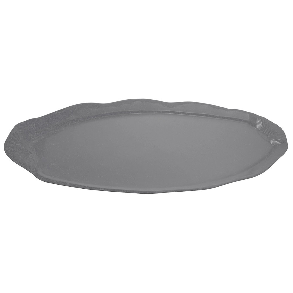 "Bon Chef 2065 28"" x 12"" Sandstone Smoke Gray Cast Aluminum Shell and Fish Platter"