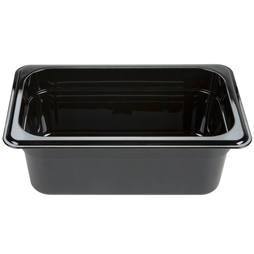 "Carlisle 3088103 StorPlus 1/4 Size Black High Heat Food Pan - 4"" Deep"