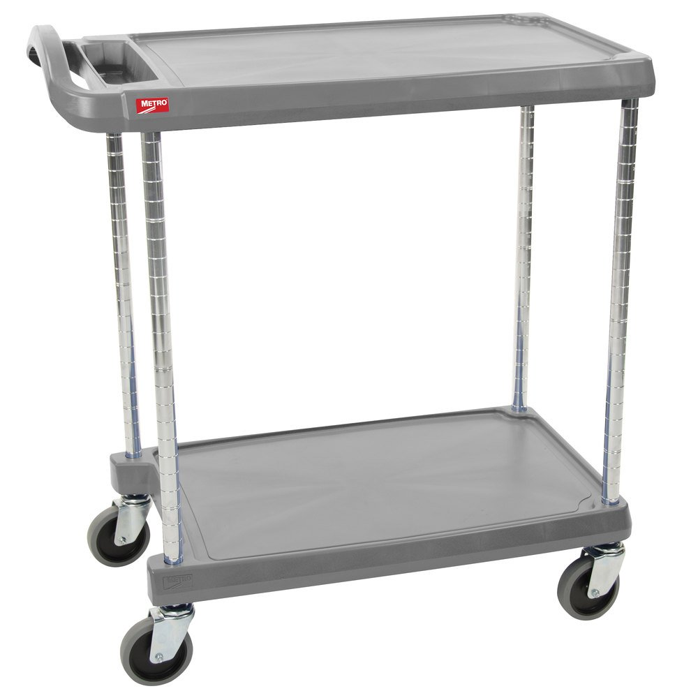 "Metro myCart MY1627-24G Gray Utility Cart with Two Shelves and Chrome Posts - 18"" x 32"""