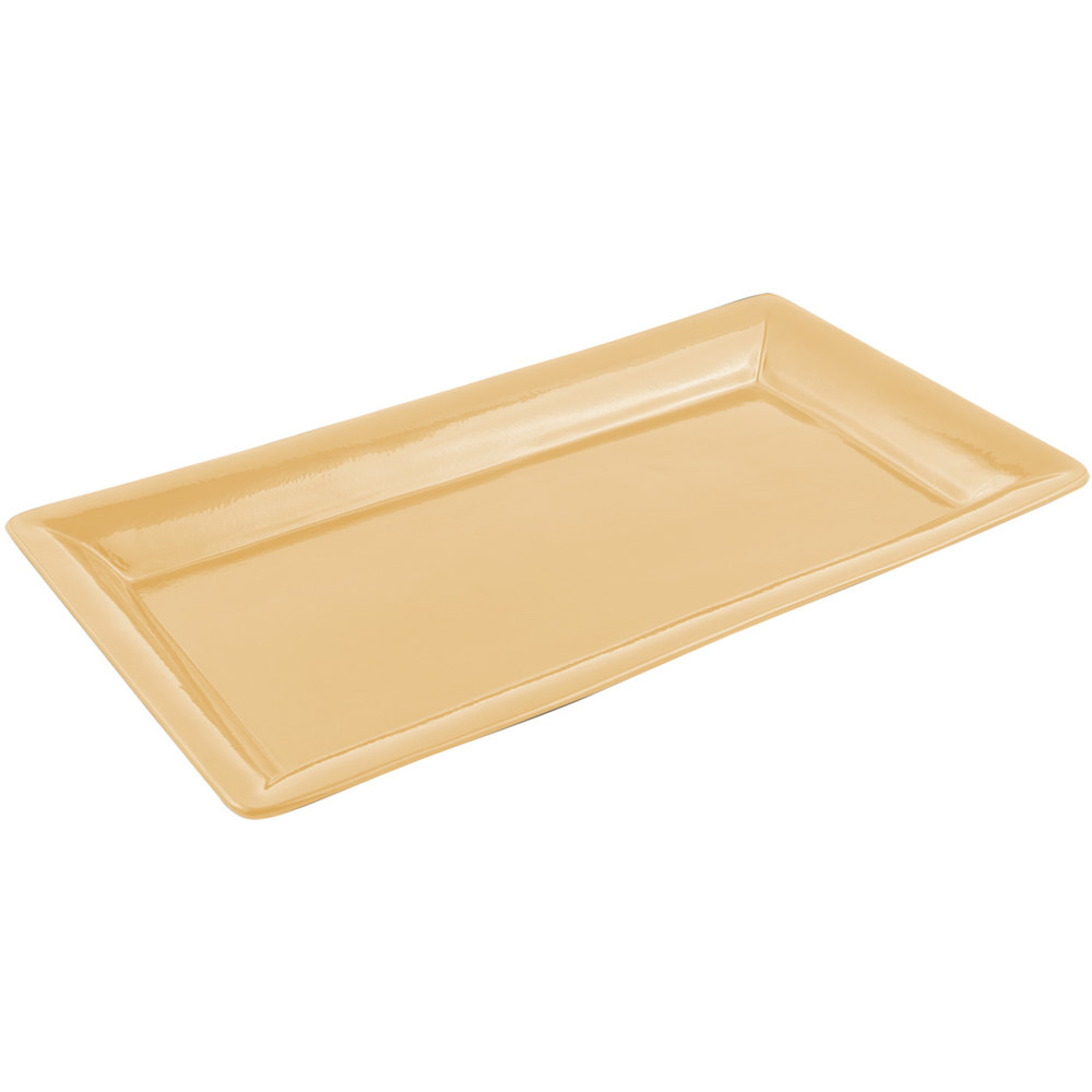 "Bon Chef 5056 21"" x 13"" Sandstone Ginger Cast Aluminum Full Size Food / Display Pan"