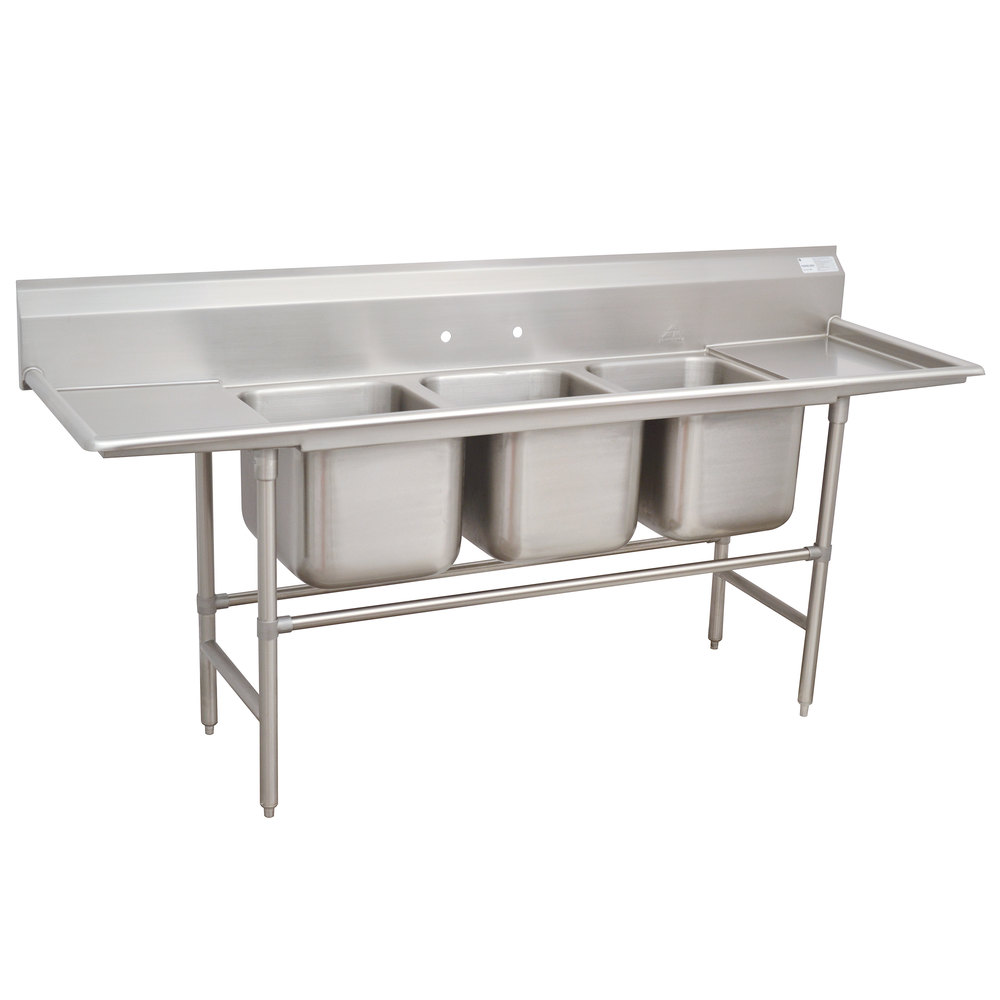 Advance Tabco 94-3-54-36RL Spec Line Three Compartment Pot Sink with Two Drainboards - 127""