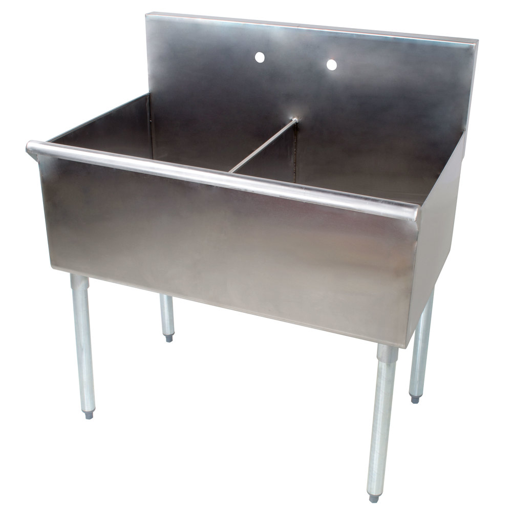 Regency 36 inch 16-Gauge Stainless Steel Two Compartment Commercial Utility Sink - 18 inch x 21 inch x 14 inch Bowls