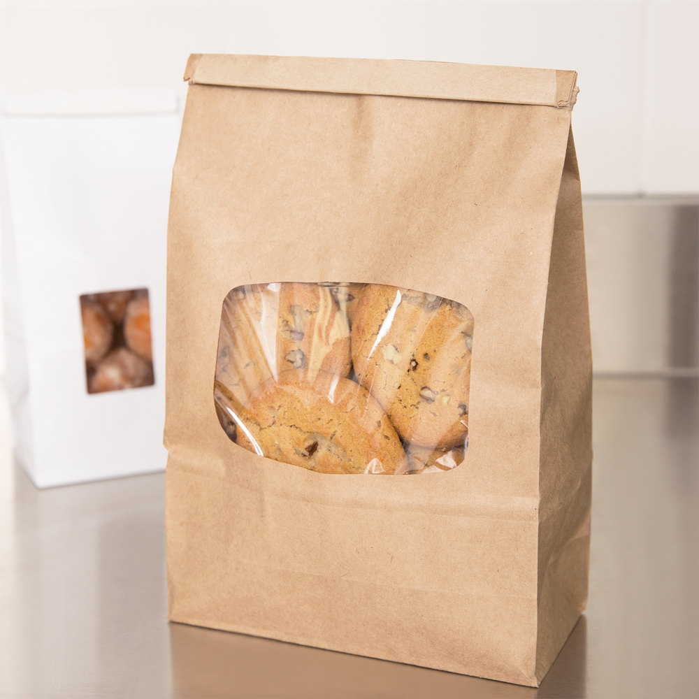 "Brown Customizable Paper Cookie / Coffee / Donut Bag with Window and Tin Tie Closure 6"" x 2 3/4"" x 9 1/2"" - 500 / Case"