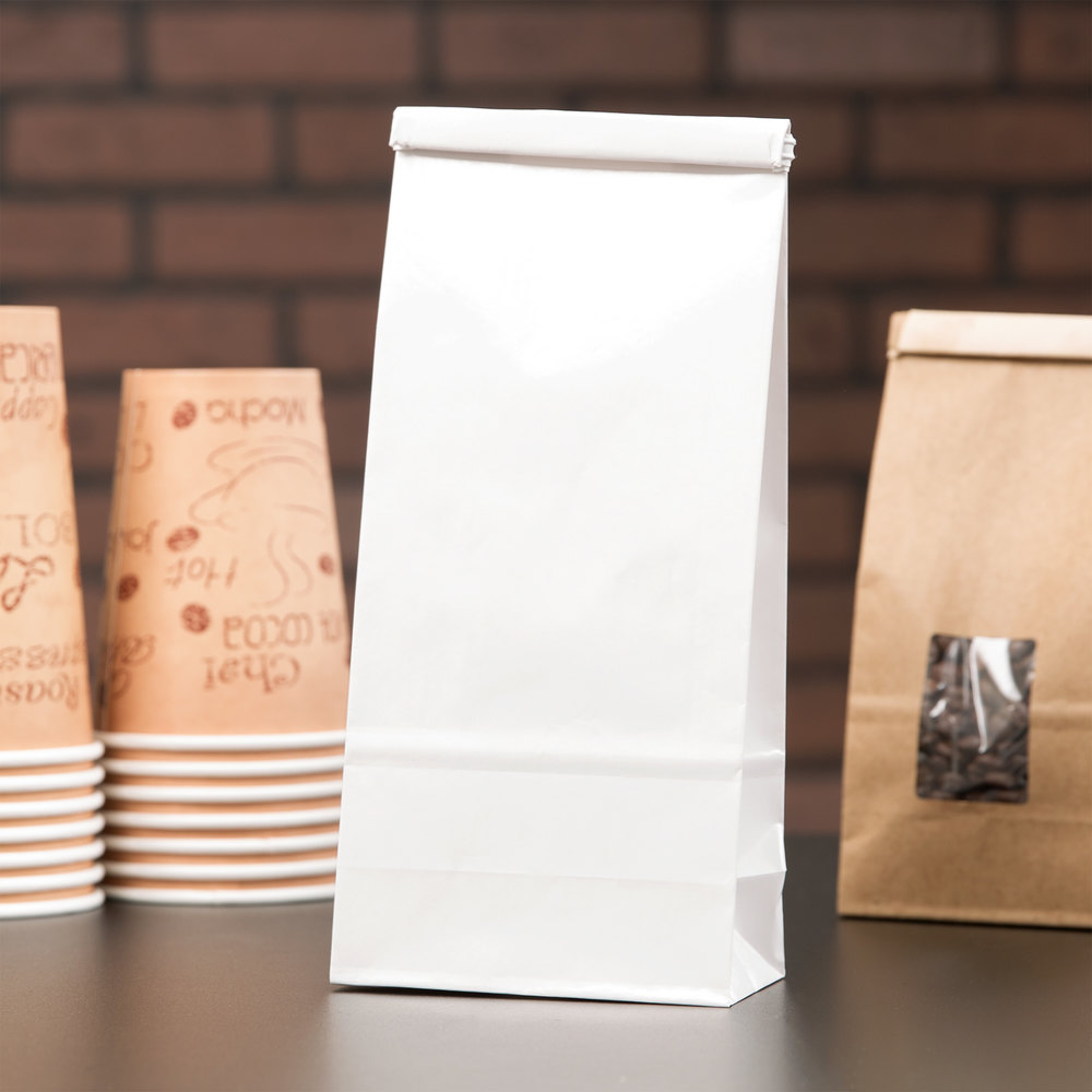 1 lb. White Customizable Paper Coffee Bag with Reclosable Tin Tie - 100/Pack