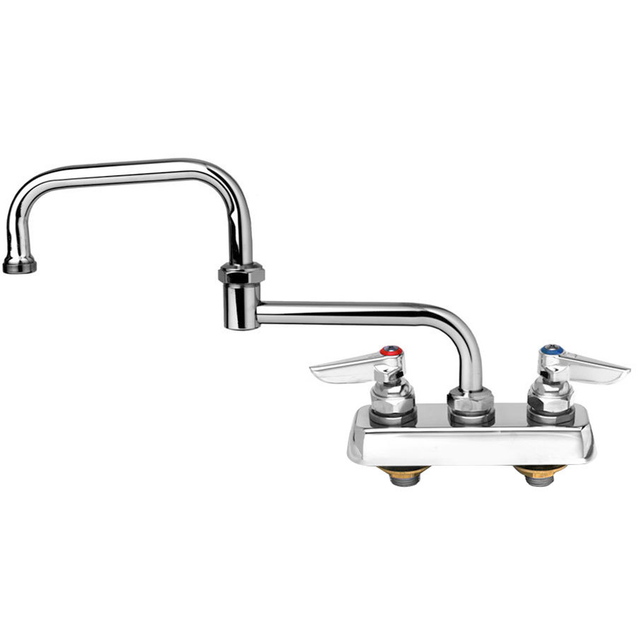 "T&S B-1130 Deck Mounted Workboard Faucet with 3 1/2"" Centers - 18"" Double Jointed Swing Nozzle"