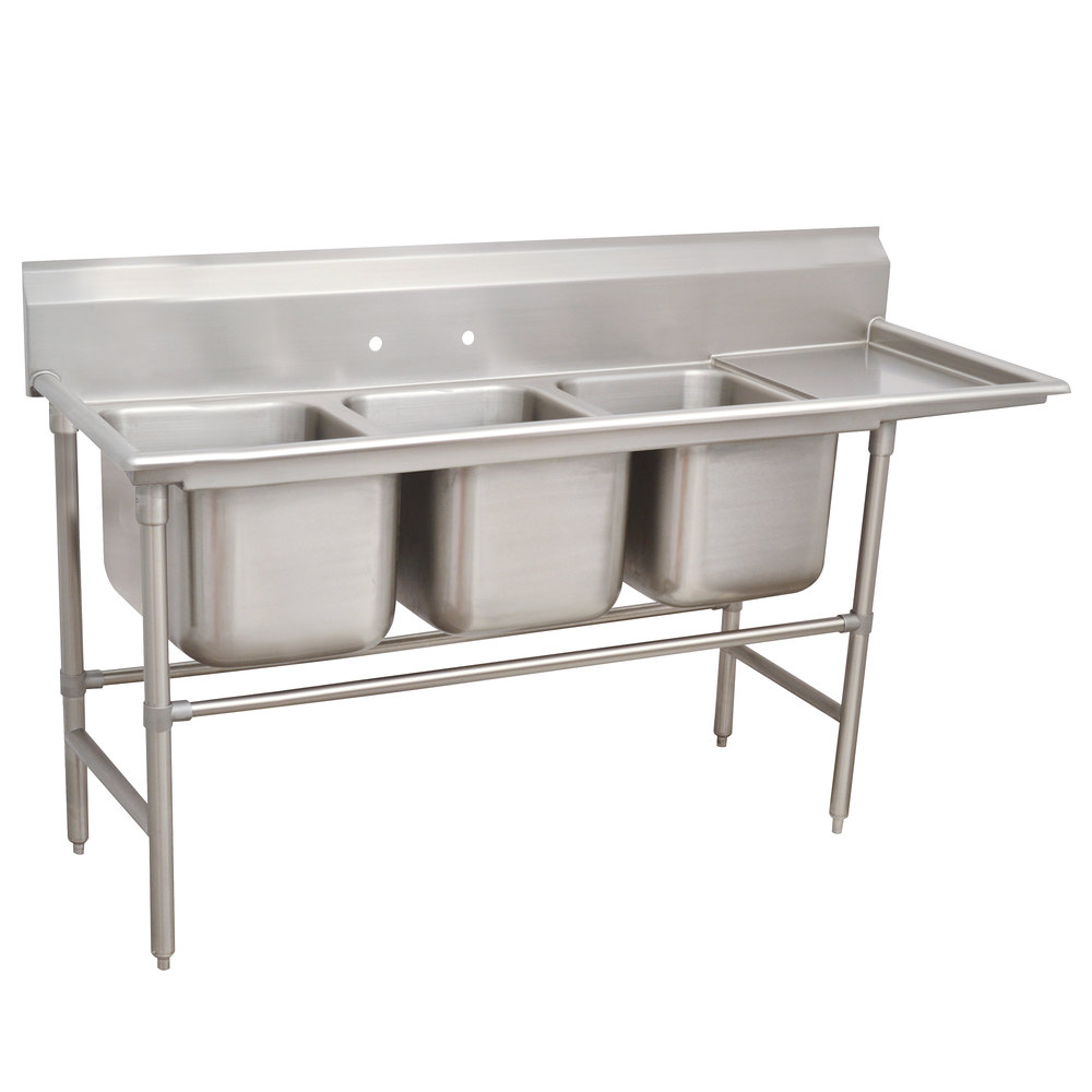 Right Drainboard Advance Tabco 94-63-54-24 Spec Line Three Compartment Pot Sink with One Drainboard - 89""