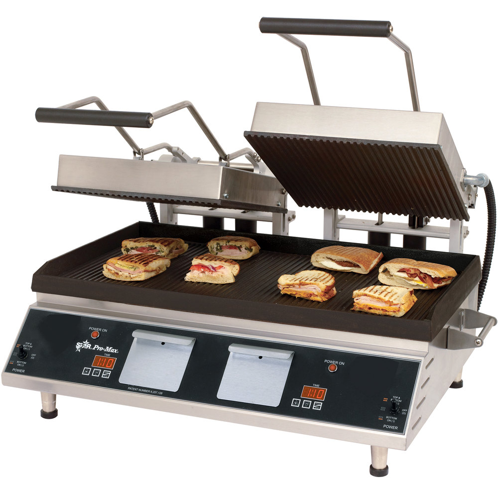 "Star CG28IE 14"" x 28"" Pro-Max Heavy Duty Grooved Top & Bottom Panini Grill with Electronic Timer"