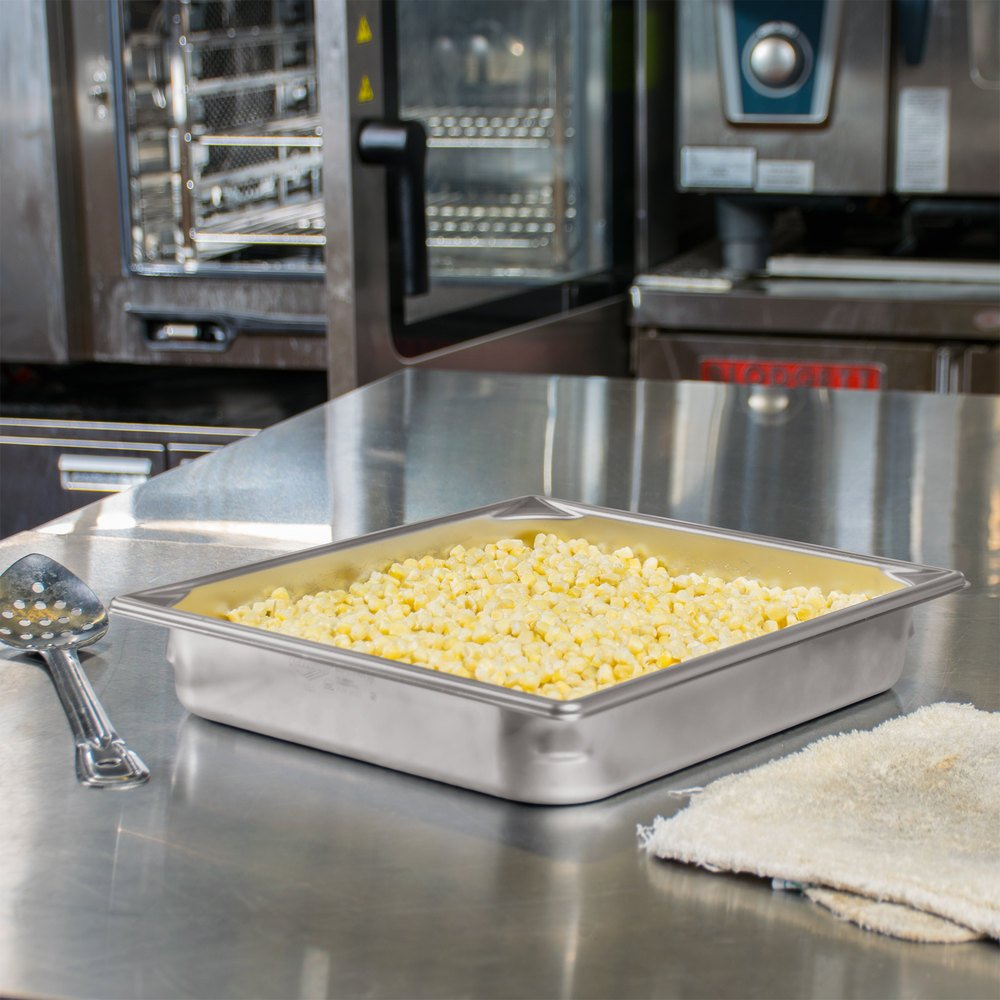 "Vollrath 30122 Super Pan V 2/3 Size Anti-Jam Stainless Steel Steam Table / Hotel Pan - 2 1/2"" Deep"