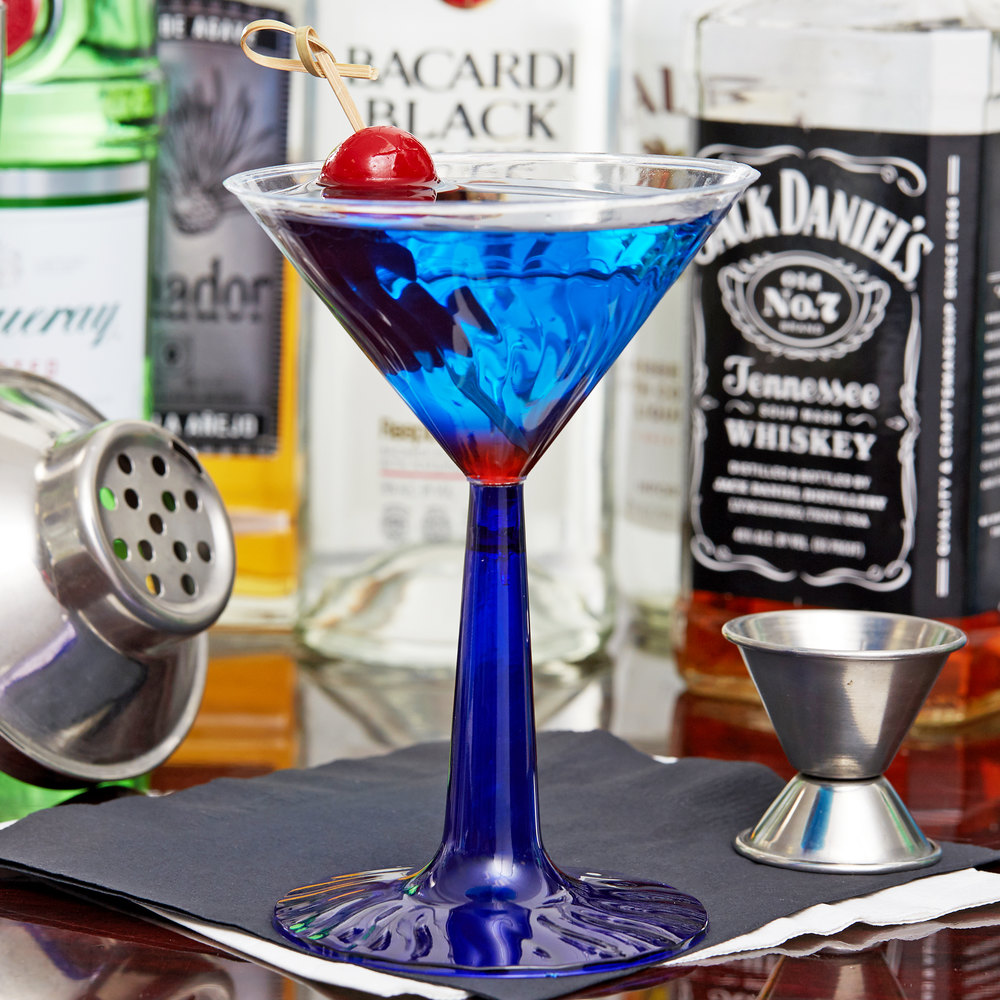 Fineline Flairware 2306-BL 6 oz. Plastic Martini Glass with Cobalt Blue Base - 12/Pack