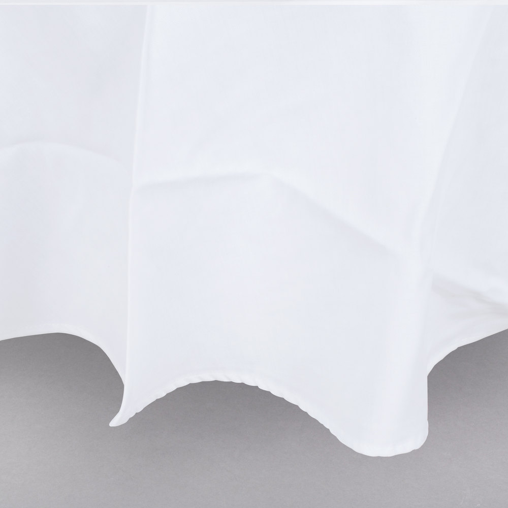 "120"" White Round Hemmed Poly Cotton Tablecloth"