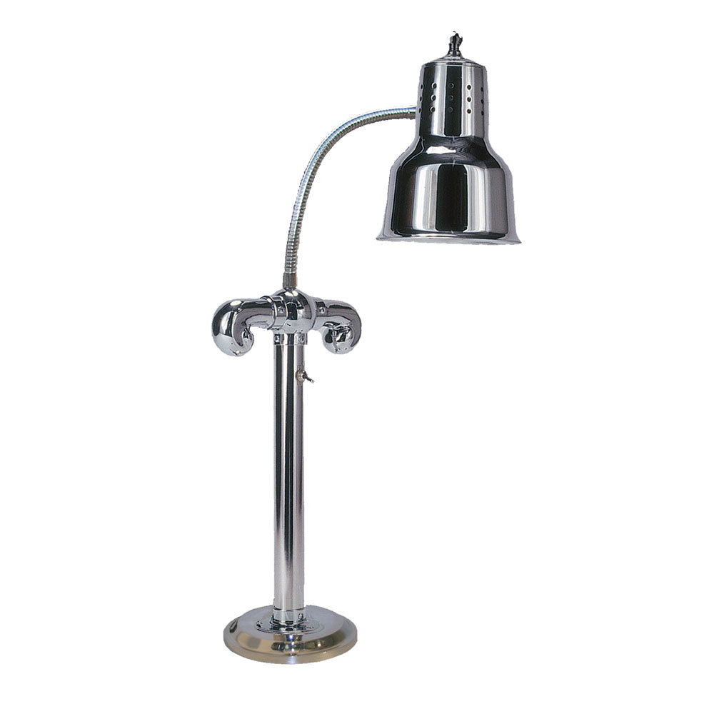 "Hanson Brass SLM/RB7-SOL/CH Stainless Steel Single Bulb Flexible Freestanding Heat Lamp on 7"" Round Solid Base with Chrome Finish"
