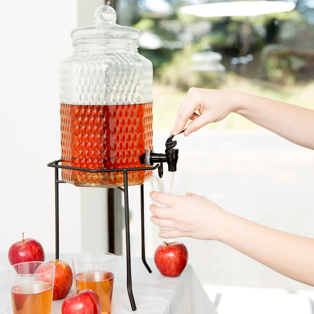 Core 1 Gallon Glass Beverage Dispenser with Metal Stand