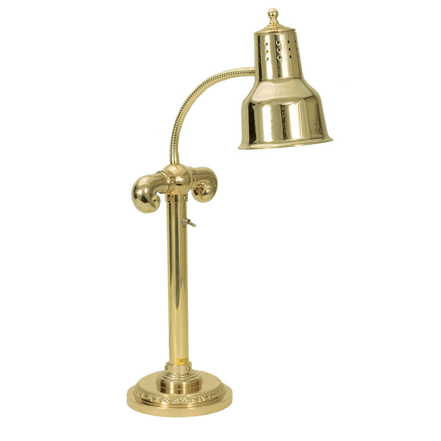 "Hanson Brass SLM/RB7-SOL/BR Brass Single Bulb Flexible Freestanding Heat Lamp on 7"" Round Solid Base with Polished Brass Finish"