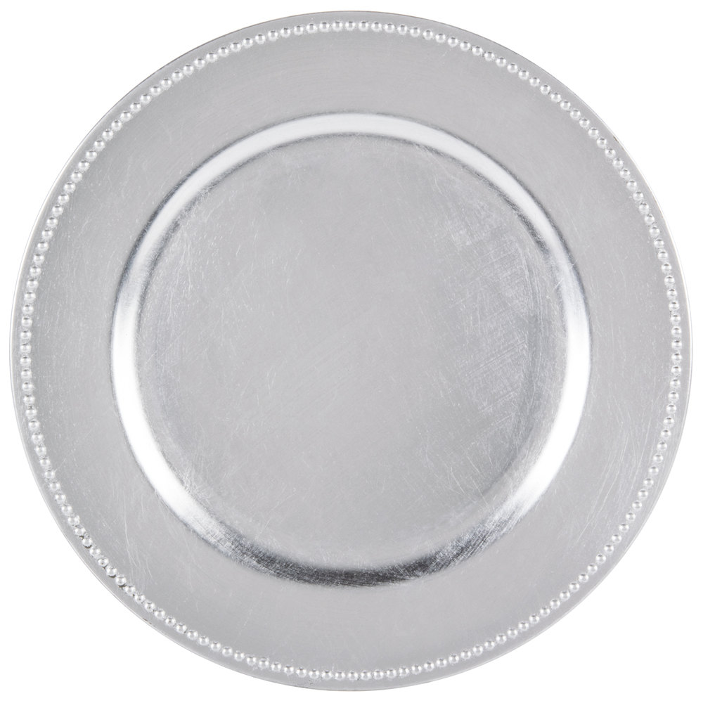 the companies 13 quot silver beaded melamine charger