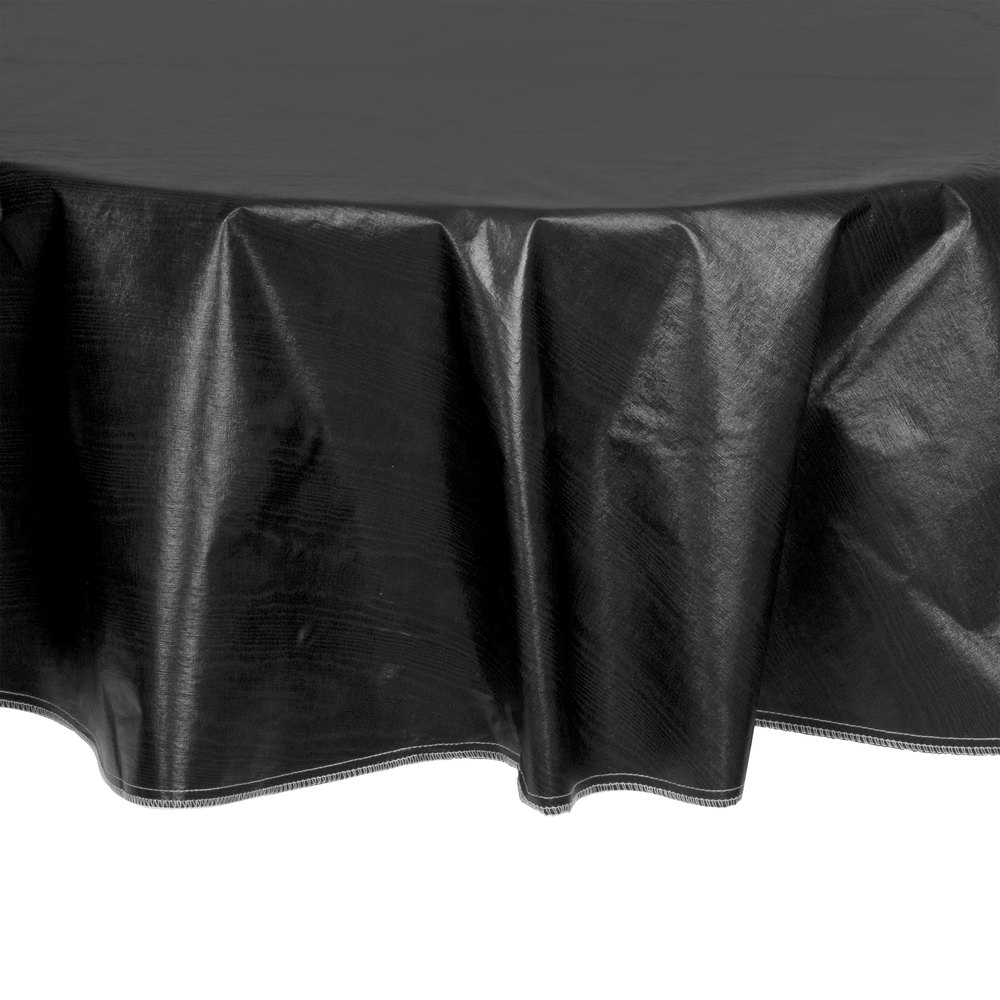 60 Quot Round Black Vinyl Table Cover With Flannel Back