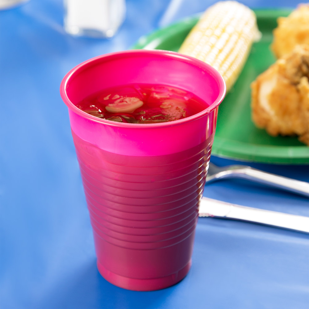 Creative Converting 28177071 12 oz. Hot Magenta Pink Plastic Cup - 240/Case