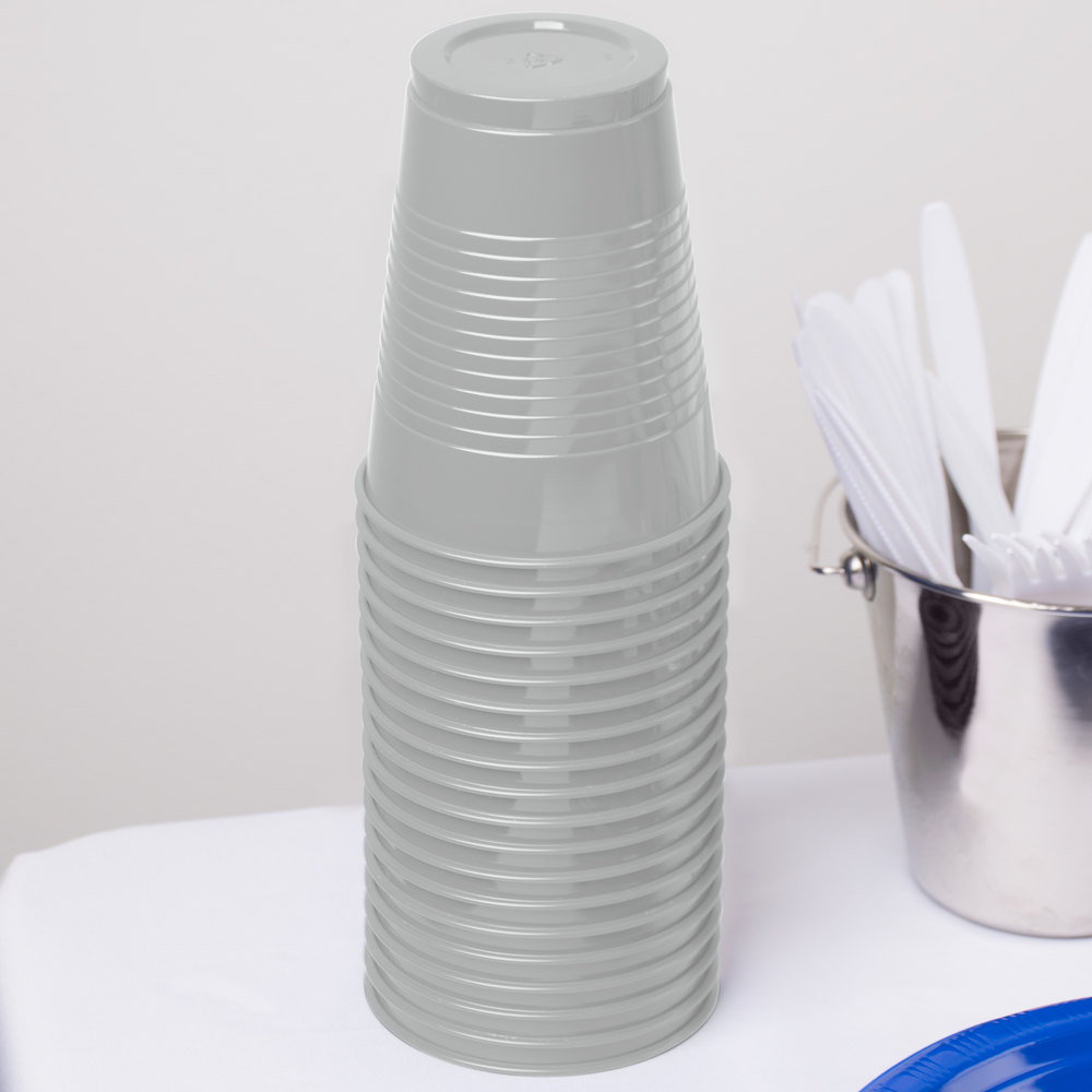 Creative Converting 28106081 16 oz. Shimmering Silver Plastic Cup - 240 / Case