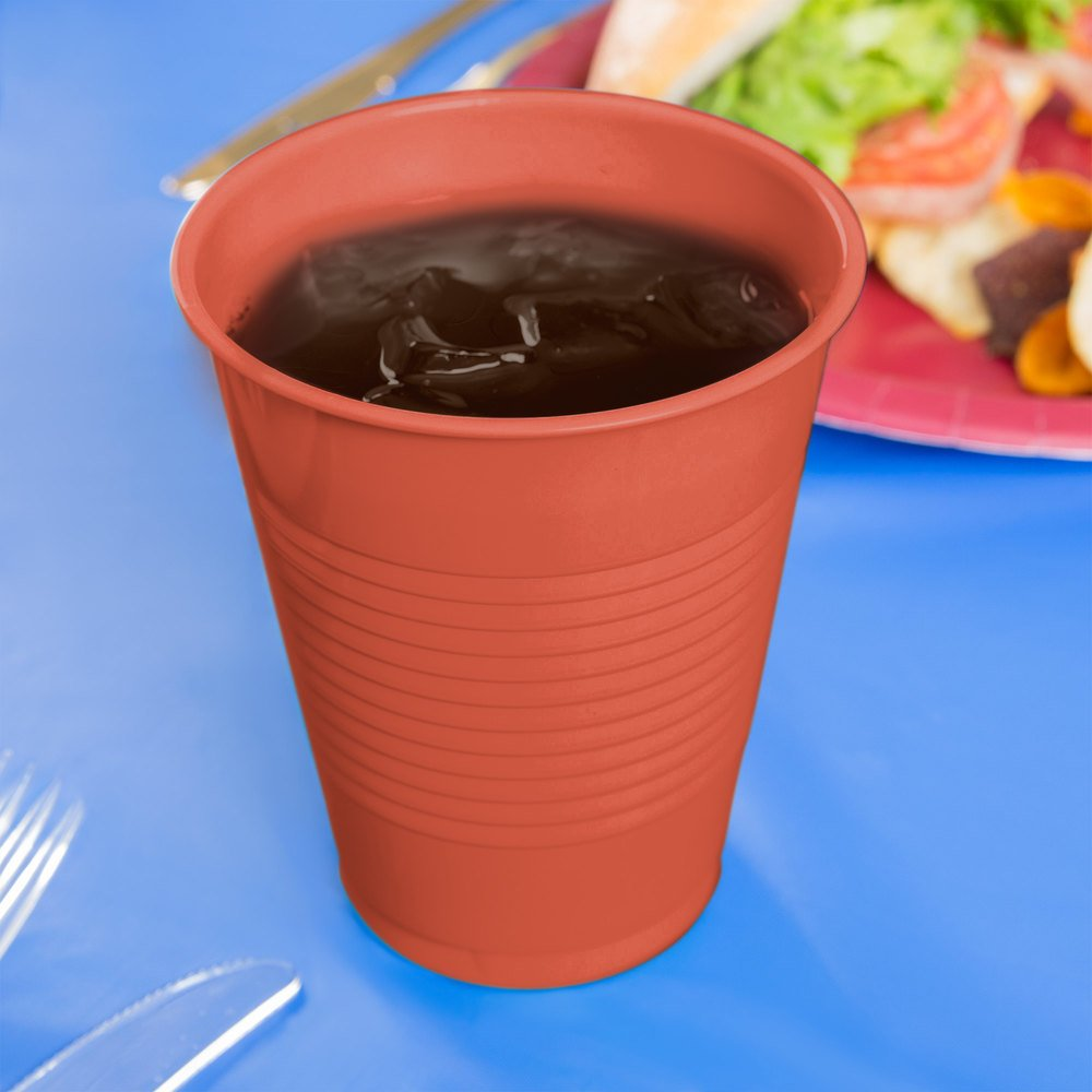 Creative Converting 28312181 16 oz. Brick Red Plastic Cup - 240/Case