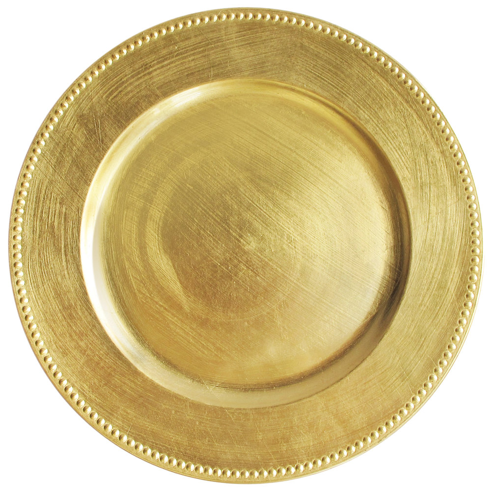 The Jay Companies 13 Quot Round Gold Beaded Melamine Charger Plate
