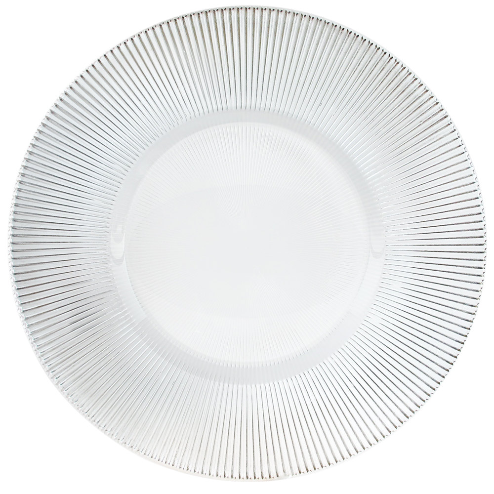 "The Jay Companies 13"" Round Clear Sunray Glass Charger Plate"