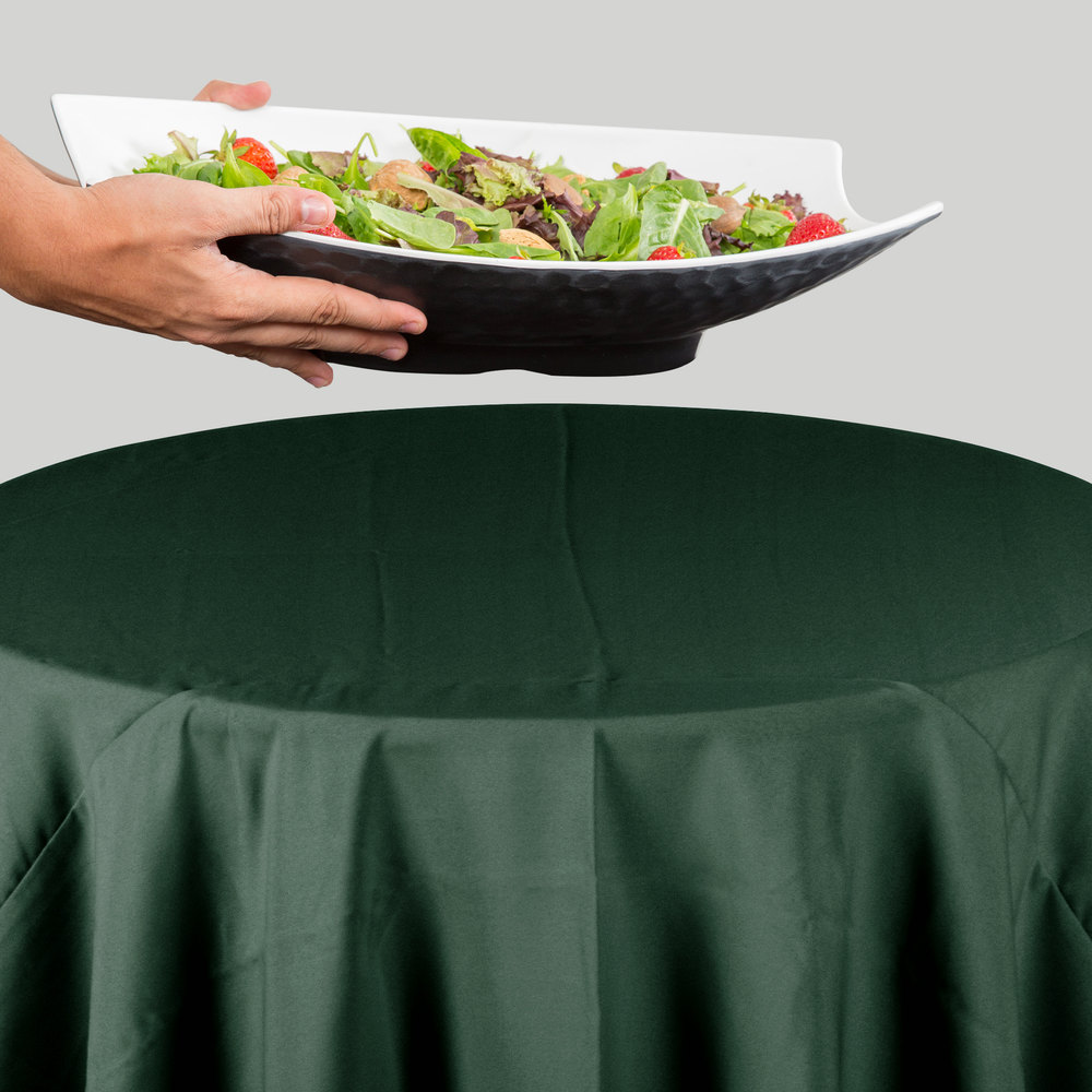 "132"" Round Forest Green 100% Polyester Hemmed Cloth Table Cover"