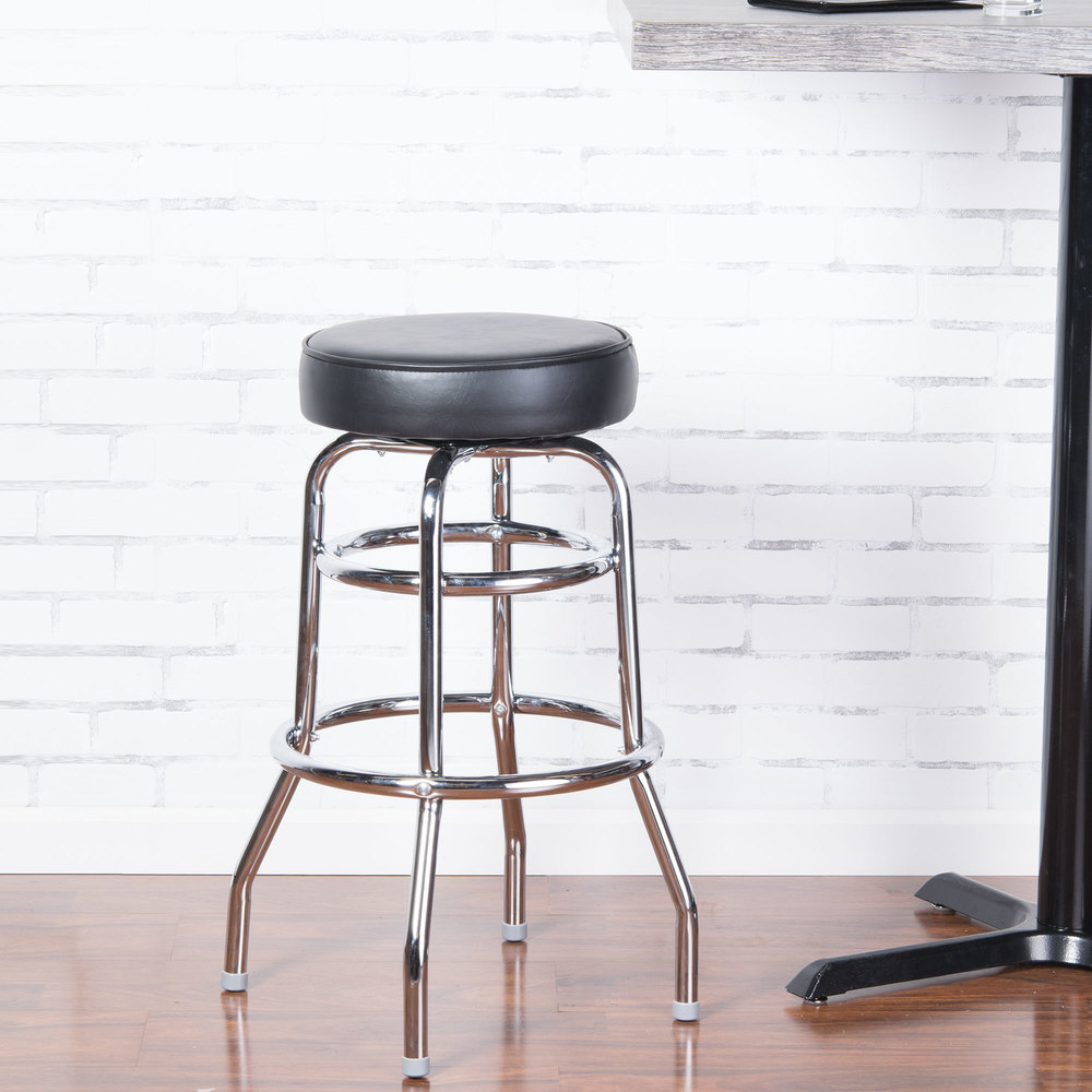 "Lancaster Table & Seating Black Double Ring Barstool with 3 1/2"" Thick Seat"