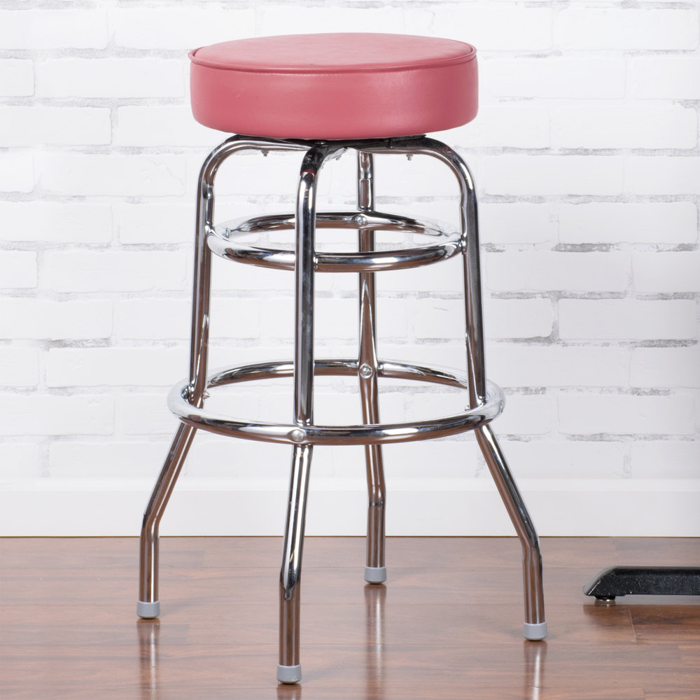 "Lancaster Table & Seating Crimson Double Ring Barstool with 3 1/2"" Thick Seat"