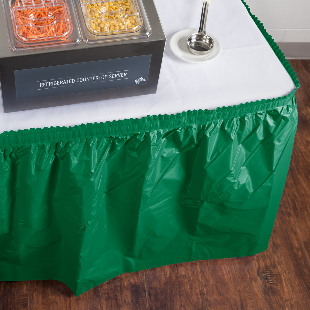 "Creative Converting 10020 14' x 29"" Emerald Green Disposable Plastic Table Skirt"