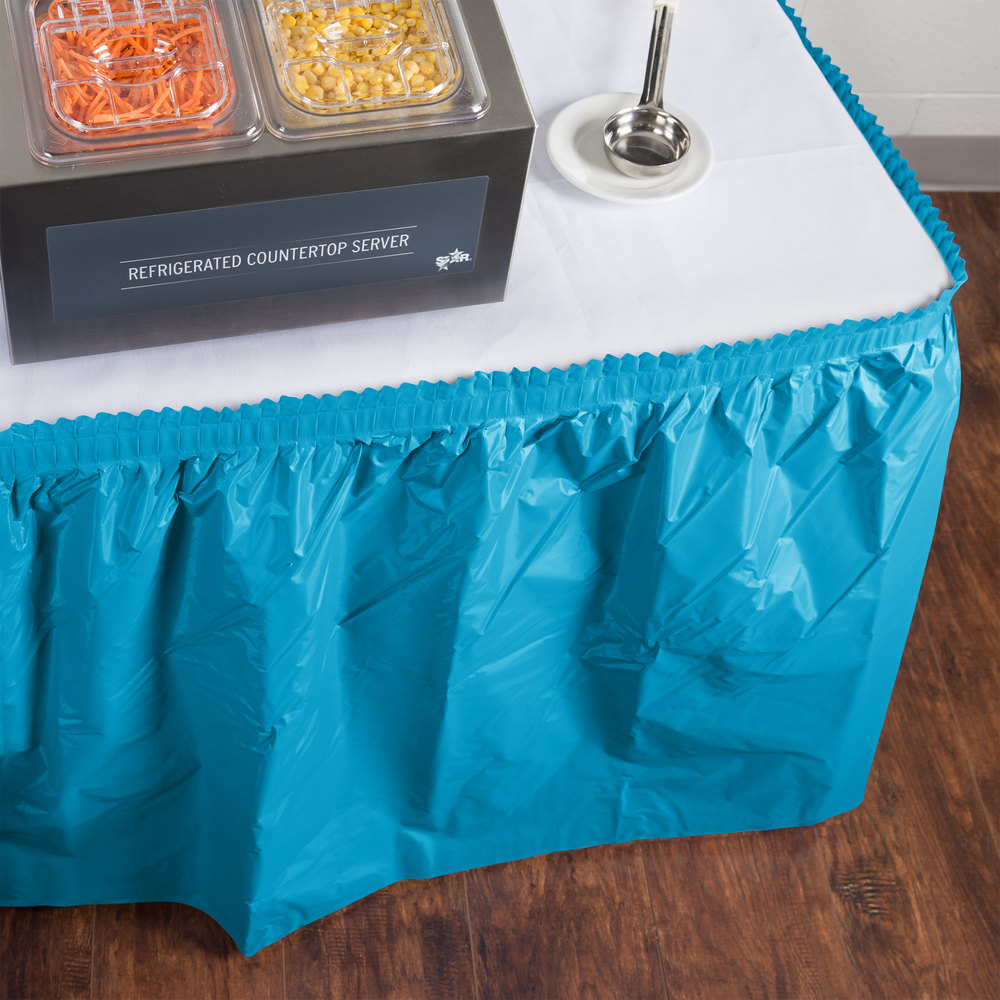 "Creative Converting 743131 14' x 29"" Turquoise Blue Disposable Plastic Table Skirt"
