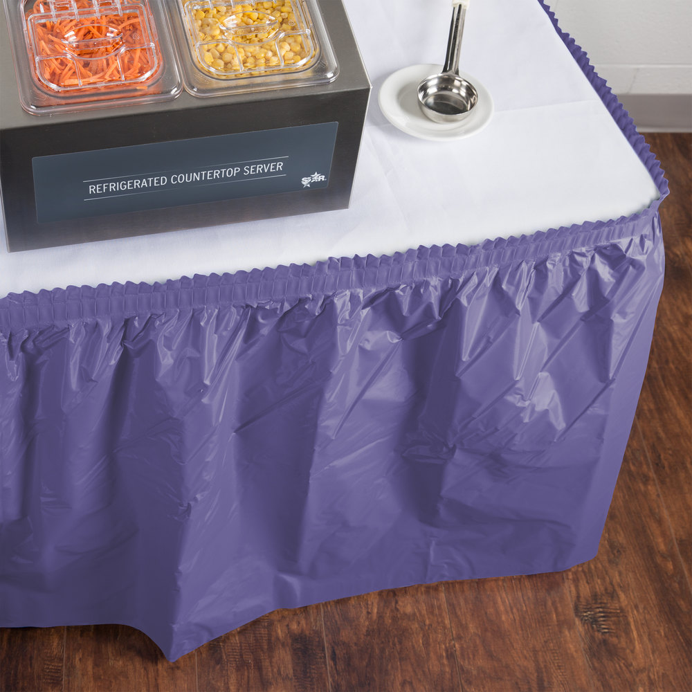 "Creative Converting 10039 14' x 29"" Purple Disposable Plastic Table Skirt"
