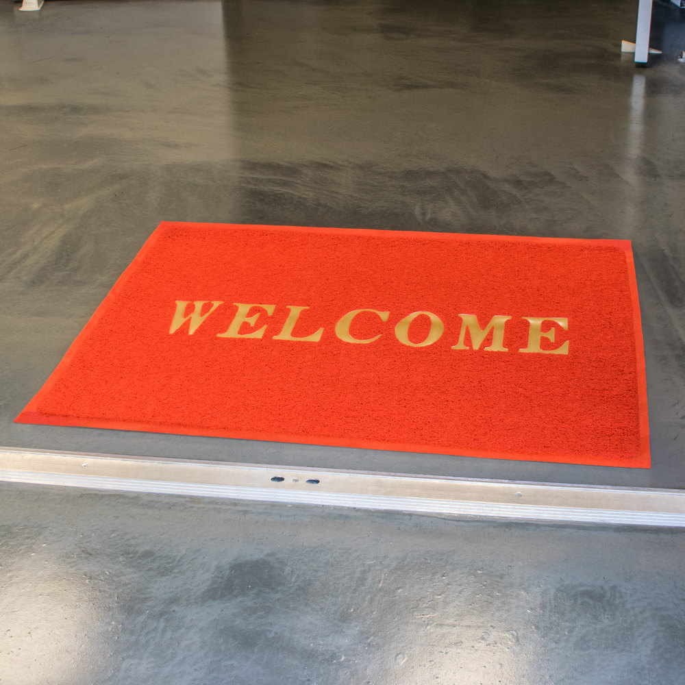 "4' x 3' Red ""Welcome"" Entrance Floor Mat"