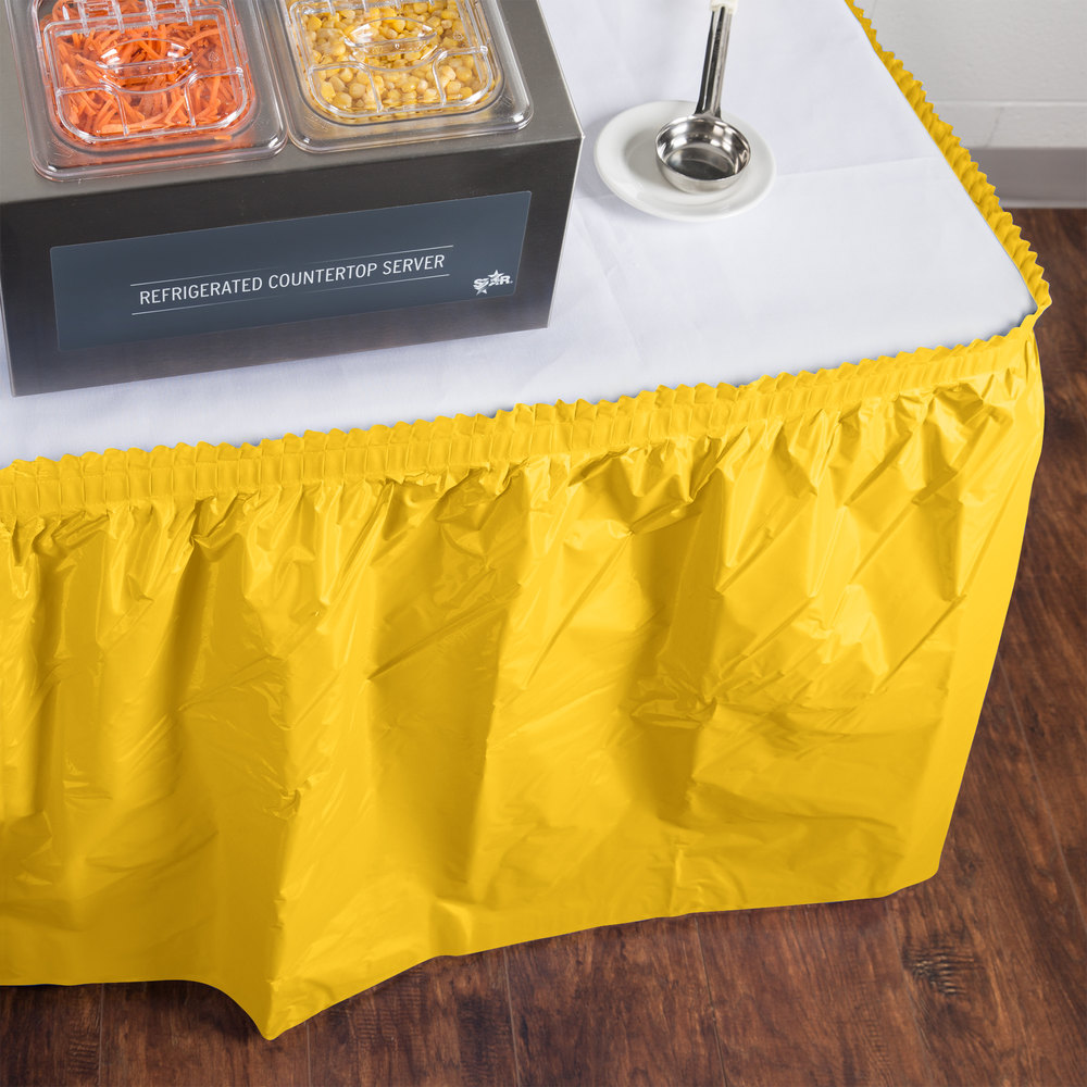 "Creative Converting 10041 14' x 29"" School Bus Yellow Disposable Plastic Table Skirt"