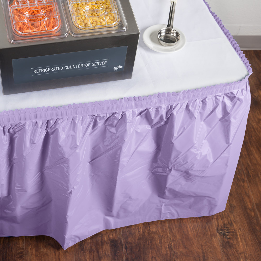 "Creative Converting 10034 14' x 29"" Luscious Lavender Purple Disposable Plastic Table Skirt"