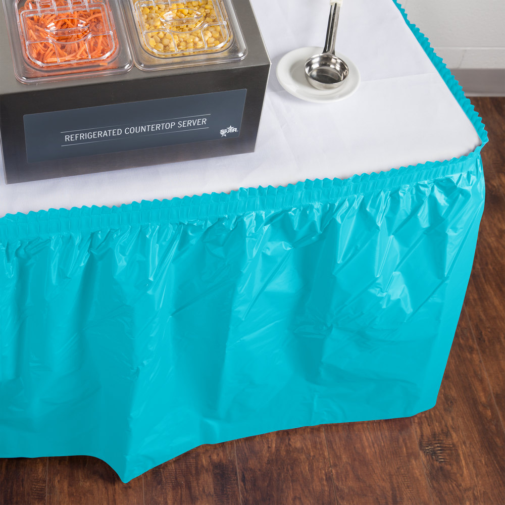 "Creative Converting 10539 14' x 29"" Bermuda Blue Disposable Plastic Table Skirt"