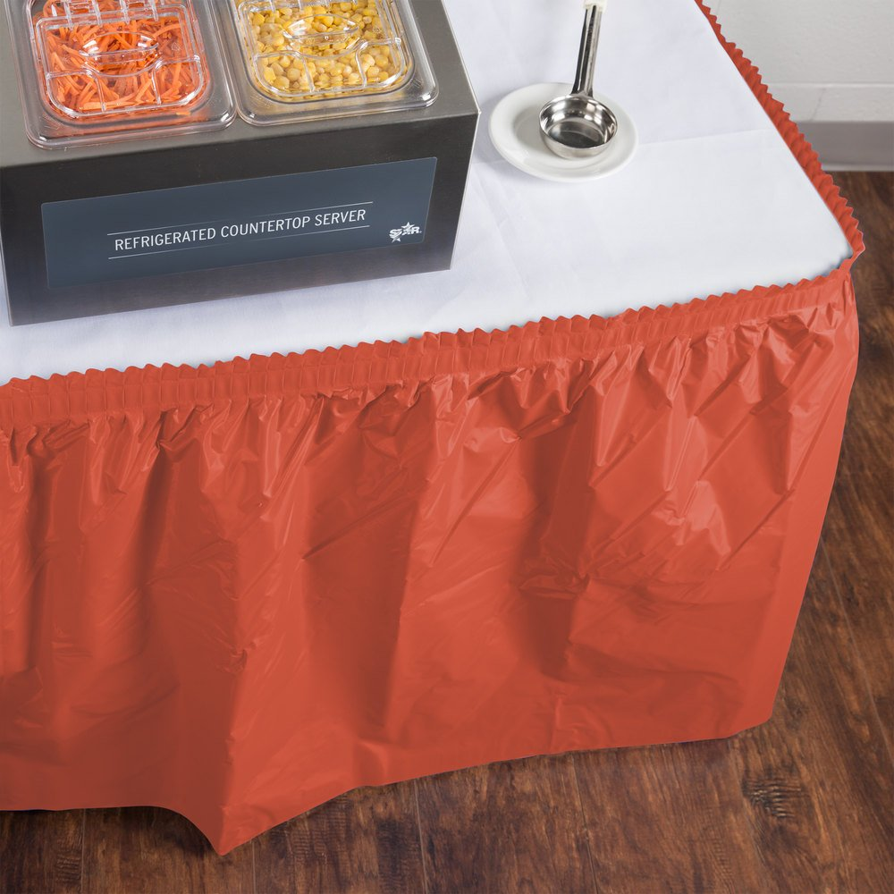 "Creative Converting 743121 14' x 29"" Brick Red Disposable Plastic Table Skirt"