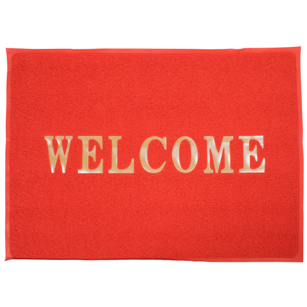 "5' x 4' Red ""Welcome"" Entrance Floor Mat"