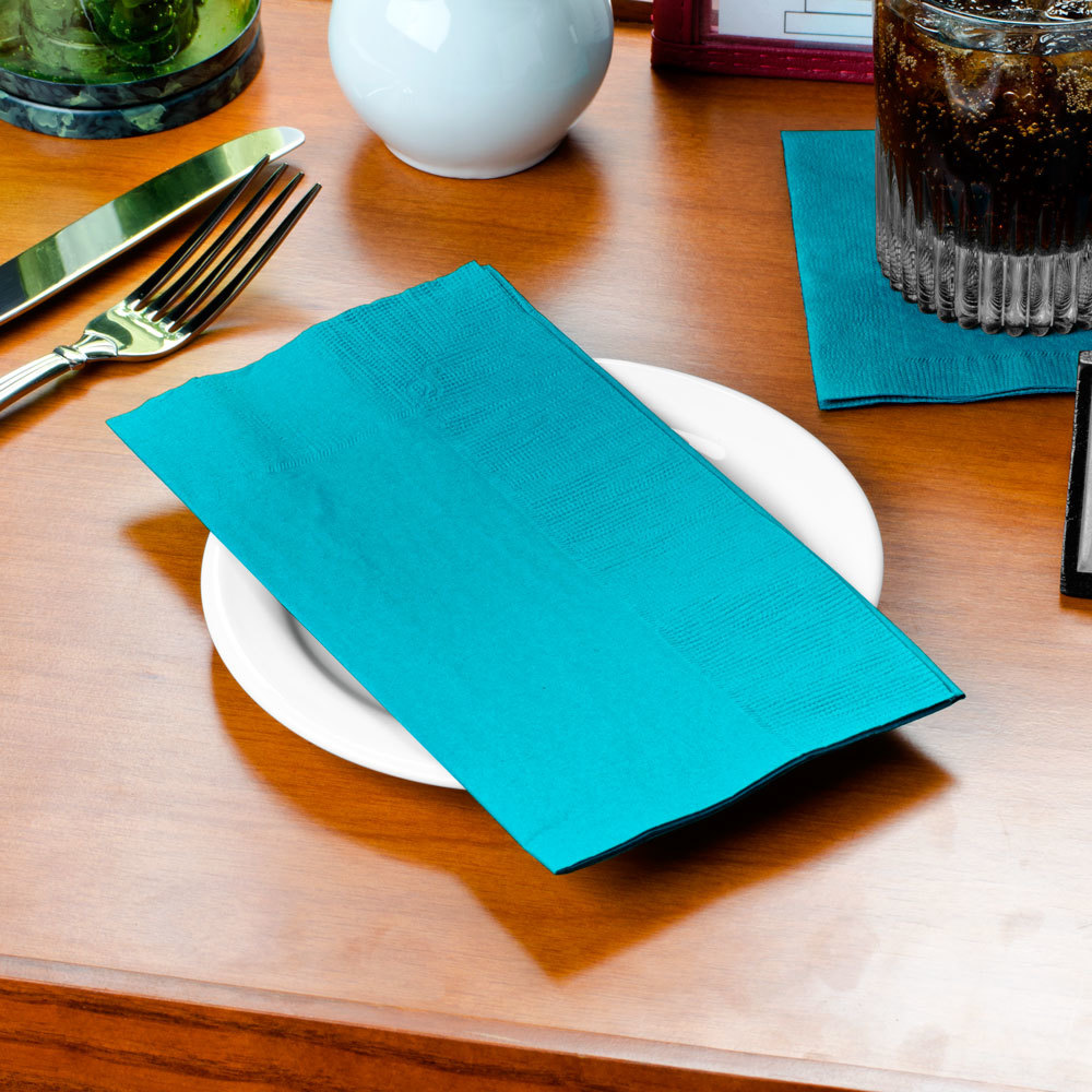 "Choice 15"" x 17"" Teal 2-Ply Paper Dinner Napkin - 125/Pack"