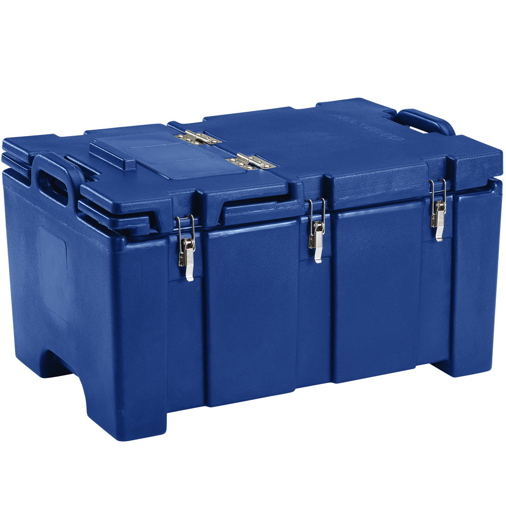 "Cambro 100MPCHL186 Camcarrier Navy Blue Top loading Pan Carrier with Hinged Lid for 12"" x 20"" Food Pans"