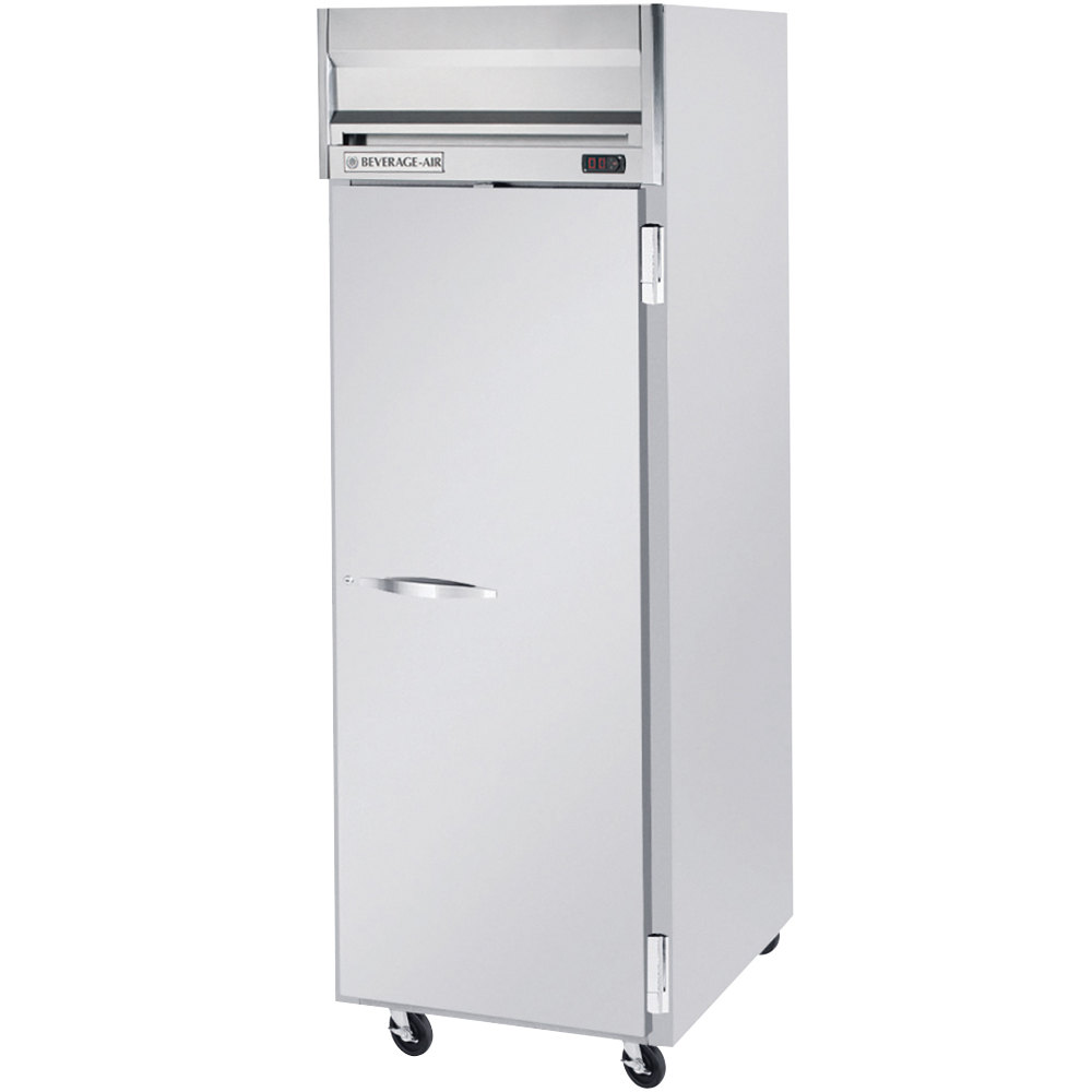 "Beverage Air HFS1-1S 26"" Horizon Series One Section Solid Door Reach-In Freezer with Stainless Steel Interior - 24 cu. ft."