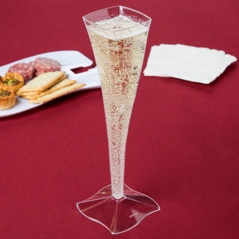 Fineline Wavetrends 1205 Clear Plastic 5 oz. Champagne Flute - 6/Pack